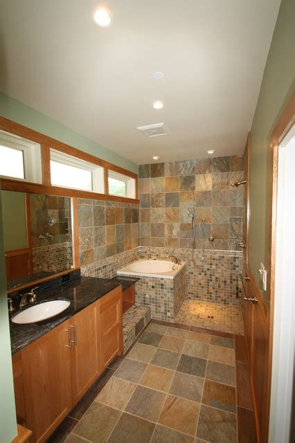 traditional tub soaking tub and open shower