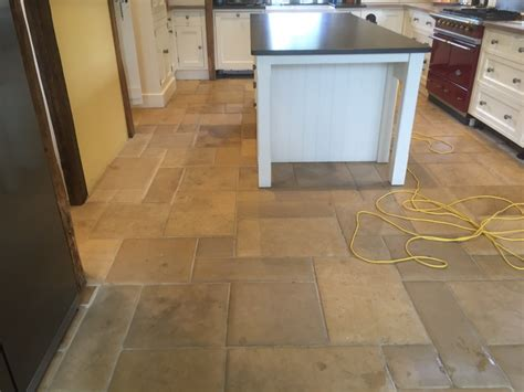 Limestone Kitchen Floor Polished In Lyndhurst, New Forest