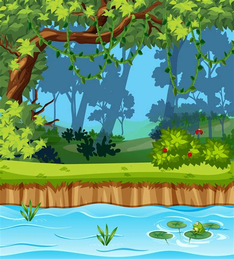 beautiful jungle landscape   vectors