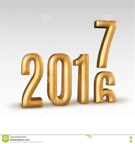 2016 Gold Number Year Change To 2017 New Year In White