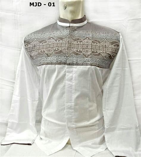 baju koko putih lengan panjang terbaru bordir batik merk majidah busanamuslimpria
