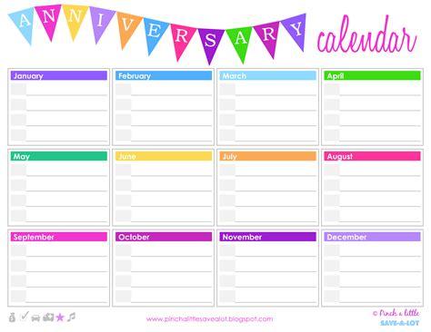 birthday anniversary calendar templates
