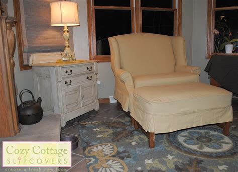 settee slipcover cozy cottage slipcovers winged settee and ottoman slipcover