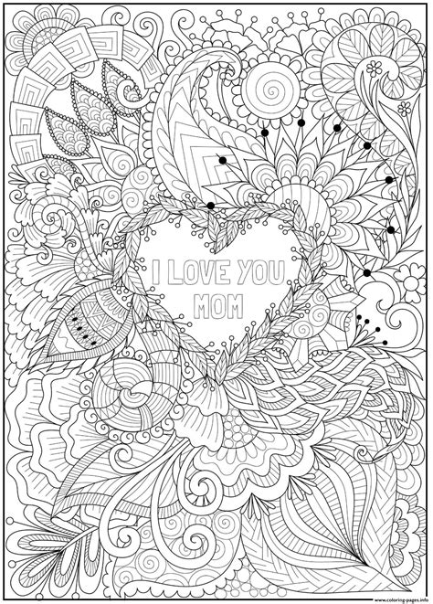 mothers day heart intricate doodle love  mom coloring pages printable