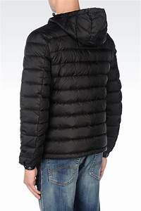 Armani Jeans Hooded Down Jacket In Technical Fabric In Black For Men Lyst