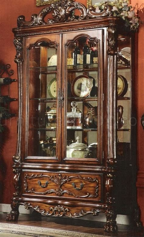 cherry finish antique display curio wglass doors storage