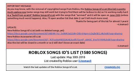 roblox songs ids list  songs google docs