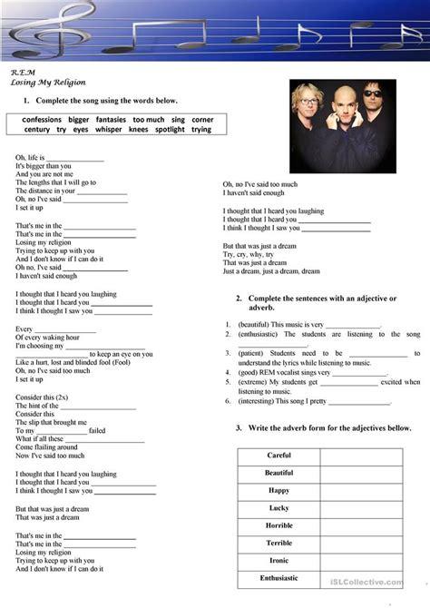 Rem Losing My Religion Worksheet Free Esl Printable