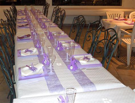 d 233 coration de table de bapteme de nolan blanche et lilas