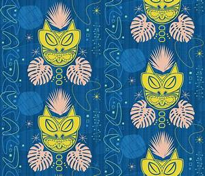 Retro Tiki Cat fabric - xoxotique - Spoonflower