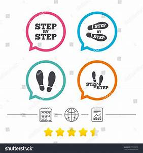 Step By Step Icons Footprint Shoes Stock Vector 577693075