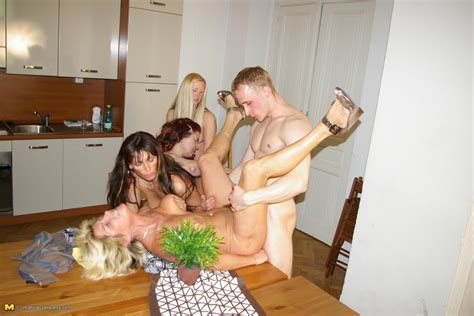 one lucky dude and four horny mature sluts get it on