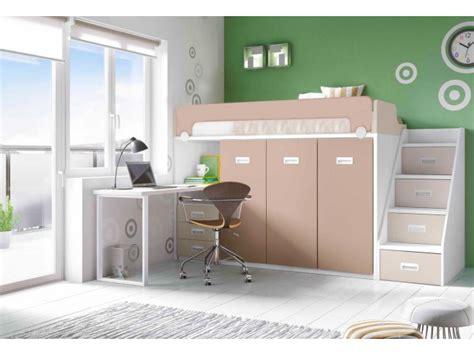 lit mezzanine 2 places bureau lit mezzanine avec bureau et fauteuil en pin massif