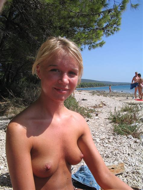 Sweet Russian Blonde With Amazing Body Posing Topless On Public Beach Russian Sexy Girls