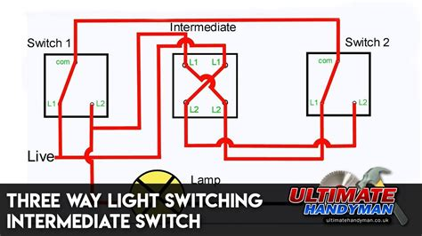 Three Way Light Switching Intermediate Switch Youtube