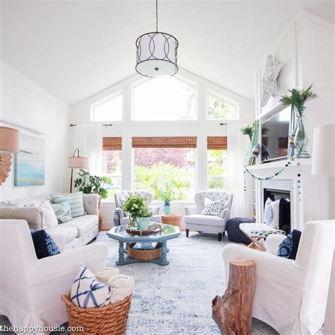 Beachy Blue & Green Summer Living Room Tour  The Happy Housie. Best Paint Colors For A Living Room. Purple Dining Room Ideas. Modern Colorful Living Room Ideas. Living Room Setup