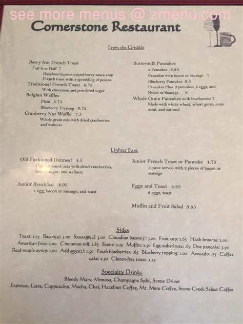 Limited breakfast menu all day. Online Menu of Cornerstone Restaurant Restaurant, Genesee ...