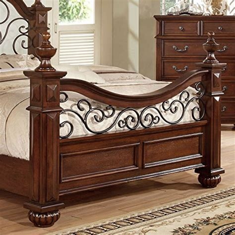 landaluce transitional style antique dark oak finish queen