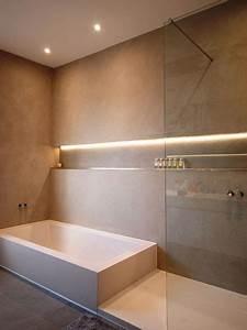 beton cire et etagere salle de bain pinterest beton With carrelage adhesif salle de bain avec consommation ruban led