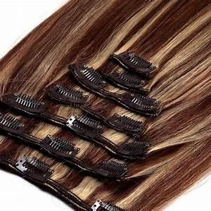 Chatain Meche Blonde : extension a clips naturel raides chatain m ch blond ~ Melissatoandfro.com Idées de Décoration