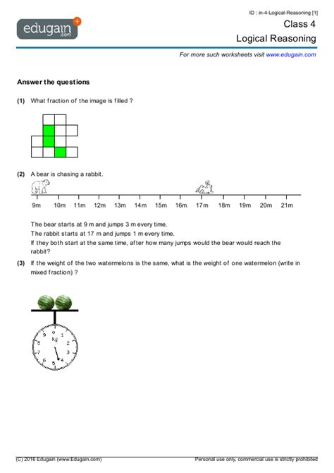 class 4 math worksheets and problems logical reasoning