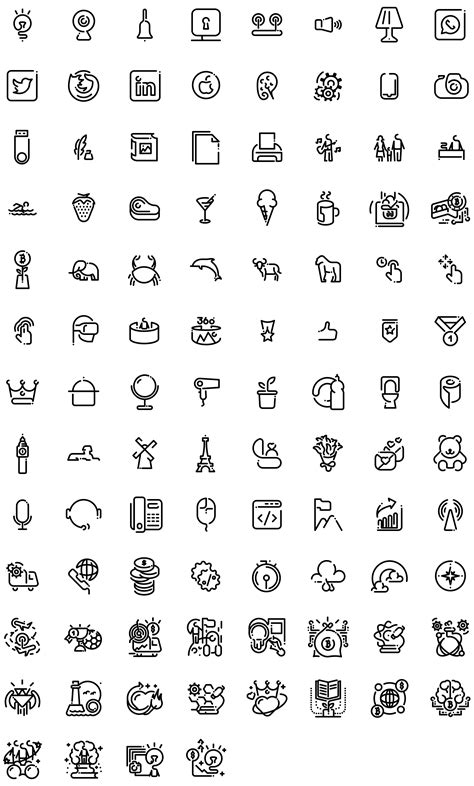 100 Free vector line Minimal icons set on Round Icons Website