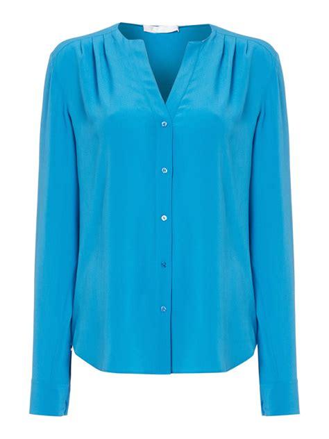 v neck blouses rosaline v neck washed silk blouse in blue white lyst