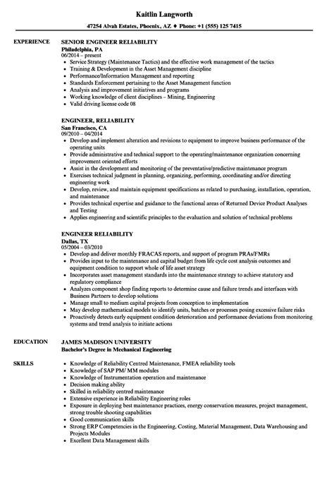 engineer reliability resume sles velvet