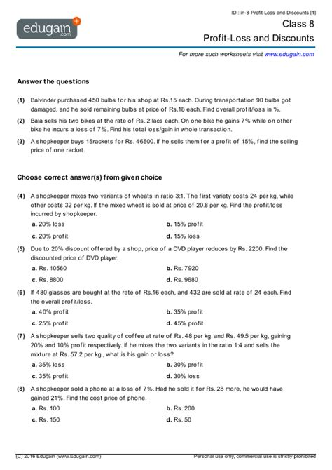 grade  math worksheets  problems profit loss