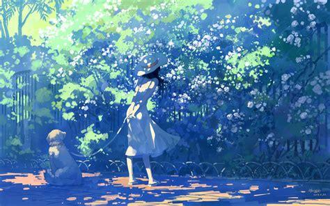 Anime Summer Wallpaper - デスクトップ壁紙 日光 アニメの女の子 白いドレス ブランチ 青 夏 花 コンピュータの壁紙