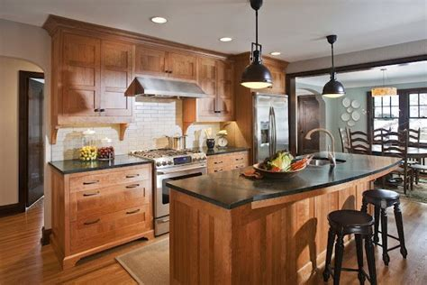 Small Ls For Kitchen Counters by Cherry Cabinets Greenish Black Soapstone Counters And