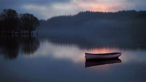 lake boat sunrise scenery nature hd wallpaper preview