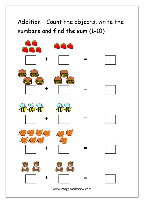 addition worksheets for kindergarten 1 10 free math worksheets number addition megaworkbook