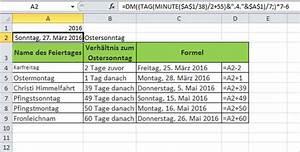 Feiertage Berechnen : ostern berechnen mit excel pcs campus ~ Themetempest.com Abrechnung