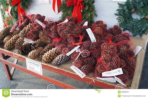pine cones  sale  christmas royalty  stock photo