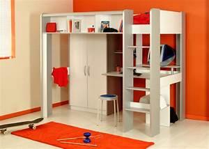 Lit Combiné Armoire : mezzanine space blanc alu ~ Teatrodelosmanantiales.com Idées de Décoration