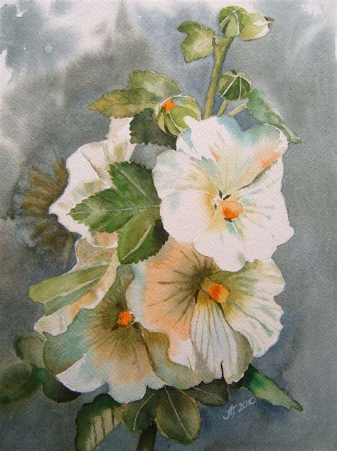 hollyhock watercolor painting malerei blumen und kunst