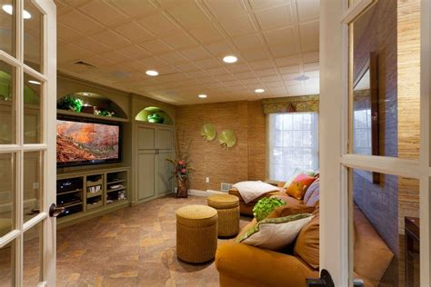 drop ceiling ideas basement tropical  tv area