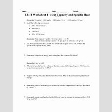 Calorimetry Worksheet