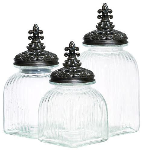 fleur de lis kitchen canisters casa cortes rococo revival fleur de lis 3 piece glass canister set black lid kitchen
