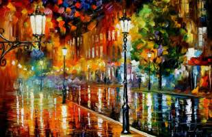 street of illusions palette knife oil painting on canvas by leonid afremov size 36 quot x24 quot