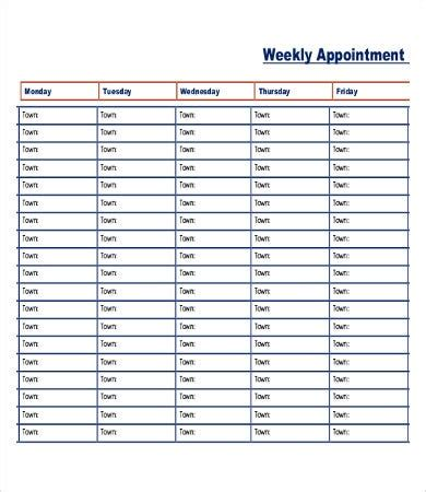 printable appointment schedule   excel