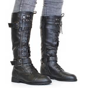 womens boots knee womens knee high lace up army combat boots size 3 8 ebay