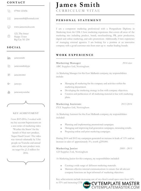Professional Cv Template Word by Achiever Free Professional Cv Template In Word