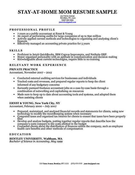 Stay At Home Resume Sles by Sle Resume After Stay At Home Stay At Home