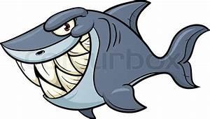 Evil cartoon shark. Vector illustration with simple ...