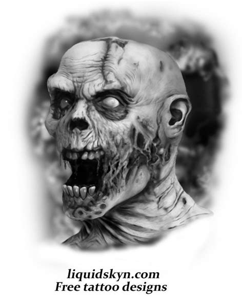 Screaming Zombie Skull Tattoo: Real Photo Pictures Images and | Zombie Tattoo Flash Skull in