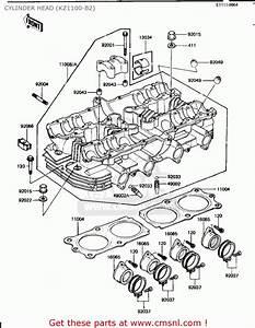 Kawasaki Kz1100b1 Gpz 1981 Usa Canada Cylinder Head