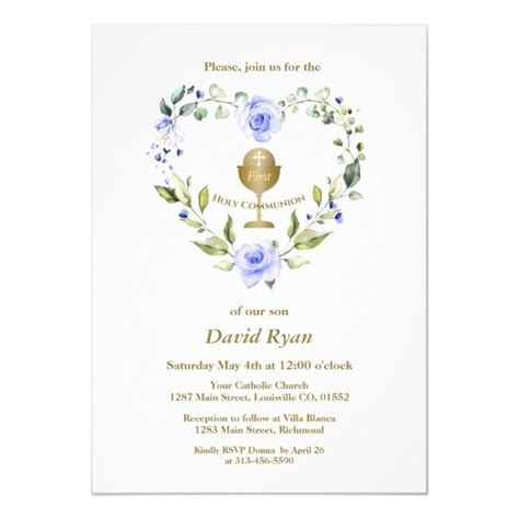 Create your own Invitation Zazzle com Blue flower