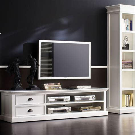 halifax white mahogany tv console   drawers dcg stores